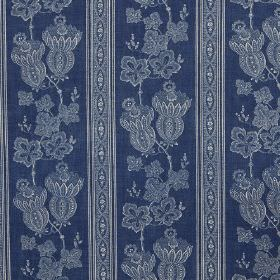 Maud - Blue - Navy blue linen fabric printed with a light blue and white design of patterned stripes and detailed flowers