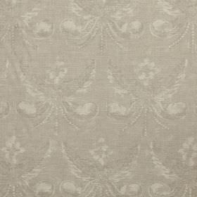Josephine - Stone - Light grey linen fabric with a repeated pattern which is subtle, ornate, and cream in colour