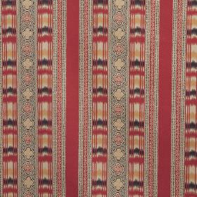 Ikat - Red - Striped linen fabric featuring vertical bands of patterns, checks & plain colours in red, grey, cream, navy blue & gold