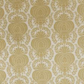 Margot - Yellow Linen - Linen and synthetic blend fabric in white, with a grand repeated pattern in a plain gold colour