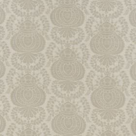 Margot - Dove Linen - Two very similar shades of light grey making up a grand repeated pattern on fabric made from a linen-synthetic blend