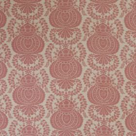 Margot - Pink Linen - A grand repeated pattern in light dusky pink on a pale grey linen-synthetic blend fabric background