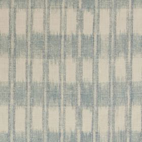 Ikat - Blue Linen - Linen and synthetic blend fabric with a smudged pattern of lines and rectangles in cream and very light blue