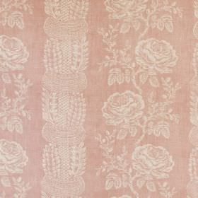 Delilah - Linen - Rose patterned fabric made from a linen-synthetic blend in cream and light pink colours