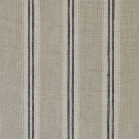 Stripe - Indigo Linen - Vertically striped 100% linen fabric in two pale shades of grey as well as charcoal