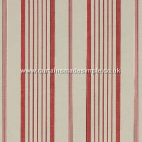 Ticking - Red - White fabric with red stripes