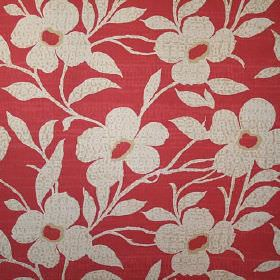 Daisy - Red - 100% cotton fabric in red with a pattern of simple beige flowers and leaves