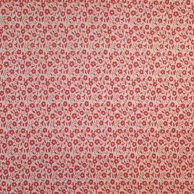 Ella - Red - Tiny florals covering 100% cotton fabric in tomato red and cream