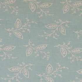 Thelma - Duckegg - Pale grey-white leaves, stems and blossoms scattered delicately over a very pale blue 100% cotton fabric background