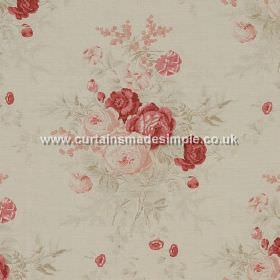 Roses - Red - Red roses impressions on white fabric