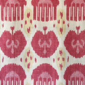 Jag - Pink - Raspberry, light dusky pink and cream coloured combs and fruit designs printed on white linen and synthetic blend fabric