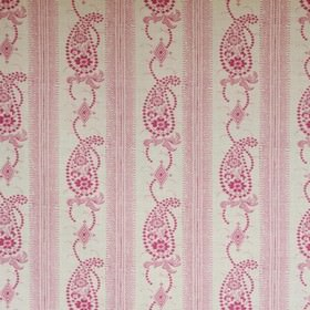 Angelique - Pink - Small, detailed patterns and dotted paisley designs printed in dark pink on diamond white linen & synthetic blend fabric