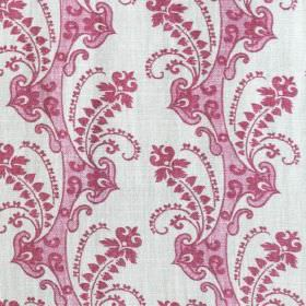 Delphine - Pink - Elegant dark and dusky pink coloured swirls, hearts and patterns printed on linen & synthetic blend fabric in off-white
