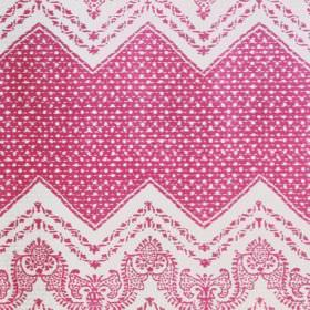 Elodie - Pink - Wide dotted zigzags and small, very detailed patterns printedin dark pink on a white 100% cotton fabric background