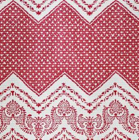 Elodie - Red - White and blood red coloured 100% cotton fabric printed with dotted zigzags and small, very detailed patterns
