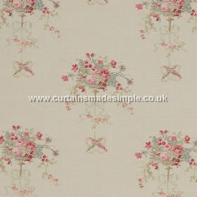 Isobella - Pink - Red flowers impressions on white fabric