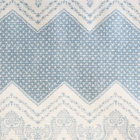 Elodie - Blue - Fabric made from 100% cotton, printed with wide dotted zigzags and small, very detailed patterns in white and light blue