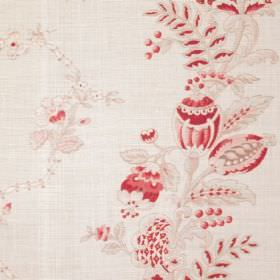 Beatrice - Pink - Dark red, pale beige and off-white linen and synthetic fabric featuring a subtle, detailed floral and leaf print pattern