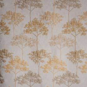 Acacia - Gold Sulphur - A slightly raised pattern of trees in light cream and beige shades on a white polyester and viscose blend fabric backgro