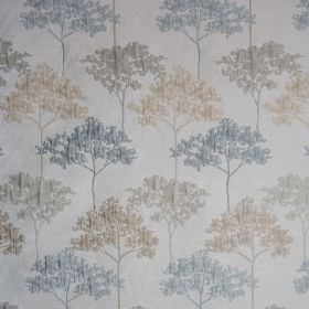 Acacia - Smoke Blue - Light shades of cream, blue and grey making up a slightly raised tree design on elegant polyester and viscose blend fabr