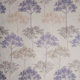 Acacia - Soft Indigo - Polyester and viscose blend fabric made in off-white, cream and light shades of blue and grey, with elegant tree desi