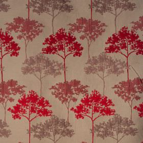 Acacia - Cranberry - Tree patterned polyester and viscose blend fabric, with a slightly raised design in bright red, beige and dusky pink-re