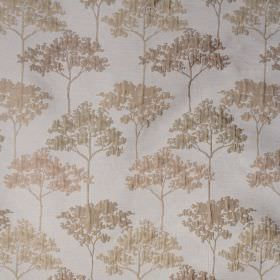 Acacia - Sage - Pale shades of cream, pink and green making up a slightly raised, elegant tree pattern on polyester and viscose blend fabric