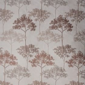 Acacia - Warn Mocha - Fabric made from polyester and viscose, with a slightly raised, elegant tree pattern in warm brown and light grey shad