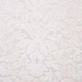 Banbury - Ivory - Elegant white fabric featuring a large, ornate, slightly textured pattern, made from filament and chenille polyester