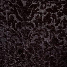 Banbury - Onyx - A large, ornate, textured, jet black pattern on a very dark grey filament and chenille polyester blend fabric background