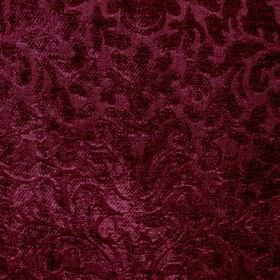 Banbury - Mulberry - Luxurious fabric made from deep ruby coloured filament and chenille polyester, featuring a large, ornate, textured patter