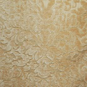 Banbury - Biscuit - Filament and chenille polyester blend fabric made in a light creamy gold colour, with a large, ornate, textured pattern