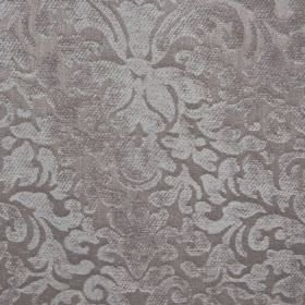 Banbury - Silver - Fabric made from chrome coloured filament and polyester chenille, with a large, ornate pattern with a textured finish