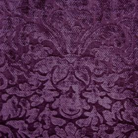 Banbury - Grape - Filament & chenille polyester blend fabric made with a textured, luxurious, ornate pattern in two rich shades of purple