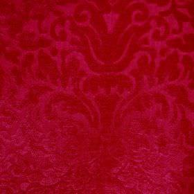 Banbury - Poppy Red - Bright, vibrant red coloured filament and chenille polyester blend fabric, with a textured, ornate, flamboyant pattern