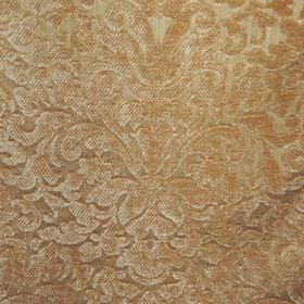 Banbury - Soft Gold - Cream-green filament & chenille polyester blend fabric, with a large, ornate, textured pattern in a light bronze colou