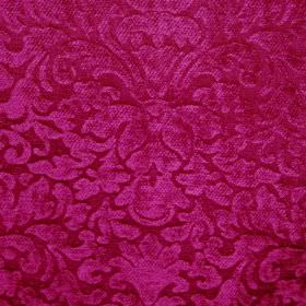 Banbury - Cerise Pink - Fabric made from filament and chenille polyester, featuring a large, ornate design with a textured finish in shocking