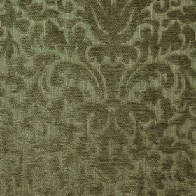 Banbury - Soft Green - A large, ornate pattern finished with a texture, covering filament and chenille polyester blend fabric in forest gree