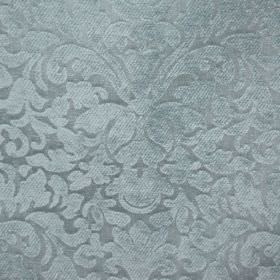 Banbury - Duck Egg - Duck egg blue coloured fabric made from filament and chenille polyester, featuring a large, ornate, textured pattern