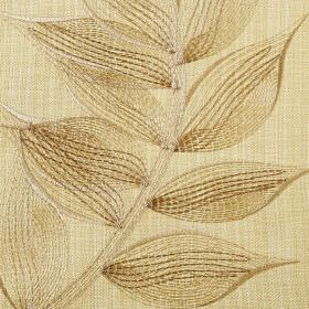 Celine - Corn - Delicate leaves embroidered in light brown on a pale yellow polyester and cotton blend fabric background