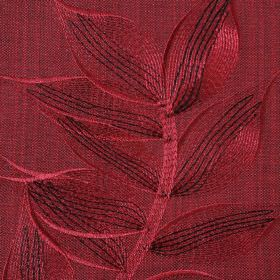 Celine - Claret - Luxurious polyester and cotton blend fabric made in deep, rich ruby red, featuring elegant, delicate leaf embroidery