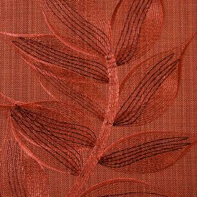 Celine - Terracotta - Embroidered leaves in a delicate, pretty pattern on fabric made from polyester and cotton in rich burnt orange