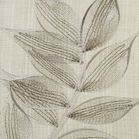 Celine - Linen - A delicate pattern of silvery green coloured leaves embroidered on pale creamy green polyester and cotton blend fabric