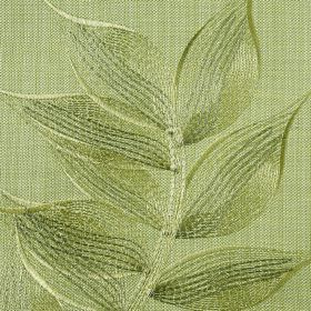 Celine - Kiwi - Several light shades of apple green making up a delicate, embroidered leaf pattern on polyester and cotton blend fabric