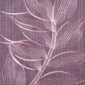 Celine - Grape - White and light lilac coloured leaves embroidered in a delicate design on polyester and cotton blend fabric in dark lavender