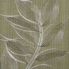 Celine - Sage - Fabric made from light green coloured polyester and cotton, embroidered with white and silver coloured delicate leaves