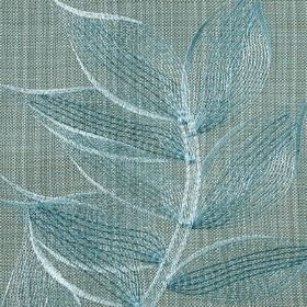 Celine - Teal - Marine blue and icy blue leaves embroidered in a delicate design on light blue-grey polyester and cotton blend fabric