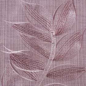 Celine - Mauve - A subtle pattern of delicate leaves embroidered on polyester and cotton blend fabric in several light purple-grey shades