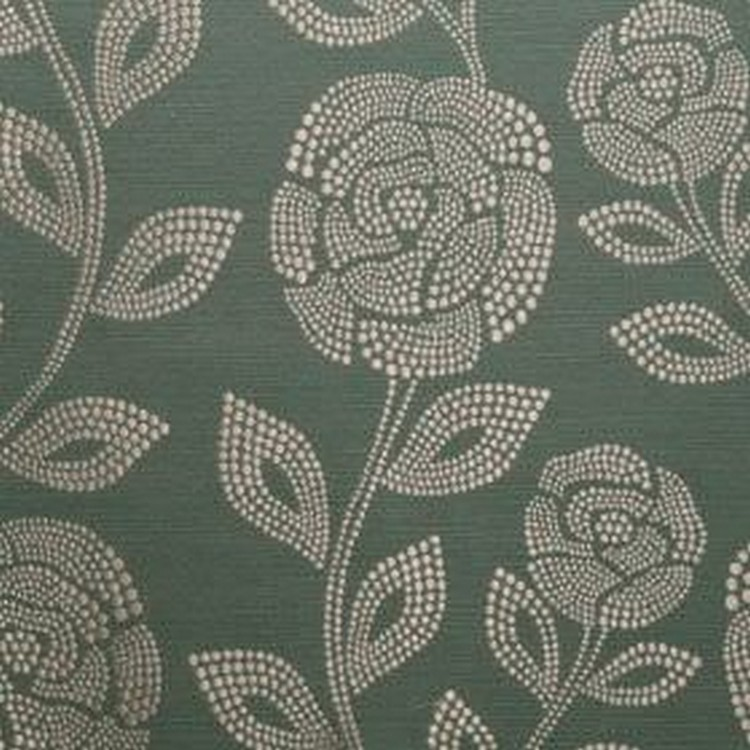 Florence - Teal - Roses and leaves made up of small cream coloured dots printed on a dark green 100% polyester fabric background
