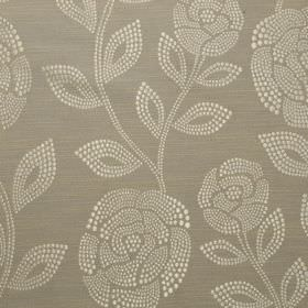 Florence - Mocha - Dots making up rose and leaf patterns on 100% polyester fabric in cream and light brown-grey colours